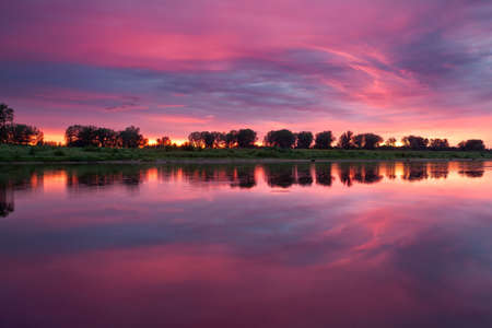 pink sunset: pink sunset on the river