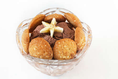 cookies and cream: Dessert of chocolate ice cream, cookies and banana Stock Photo
