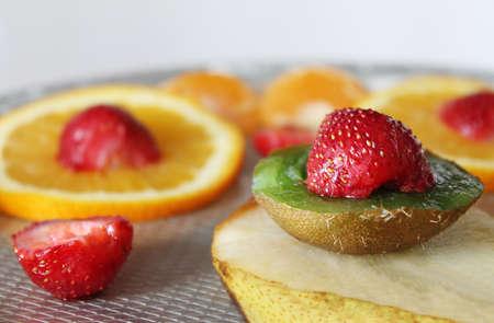 blurr: Fruit salad closeup with blurr background