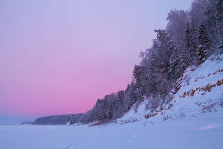 whiteness: winter forest by the river after sunset