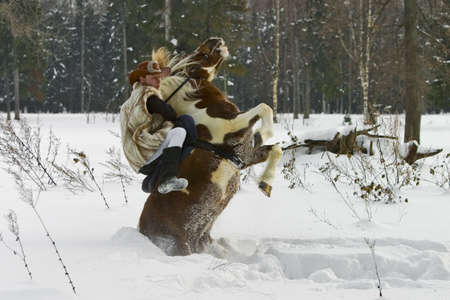 incidence: The rider and the pony falls into the snow Stock Photo