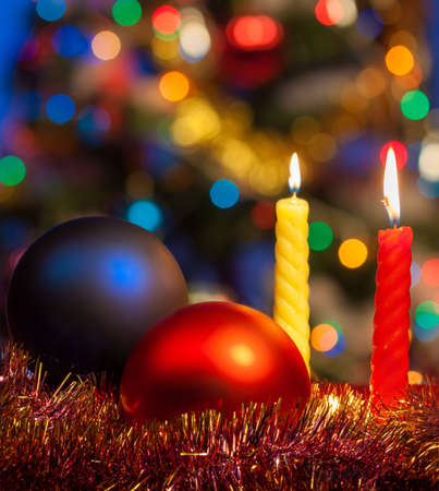 Christmas and new year decorations with balls Stock Photo