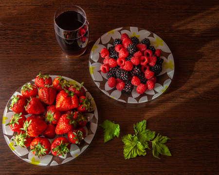 Very tasty food -strawberry raspberry nature morte