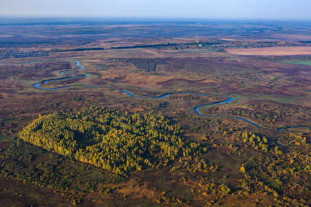 River at the landscape from height of bird's flight from air balloon Imagens