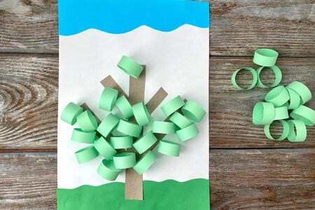 The idea of children's crafts made of colored paper and cardboard, 写真素材
