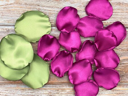 artificial flower petals made of fabric, ready for craft