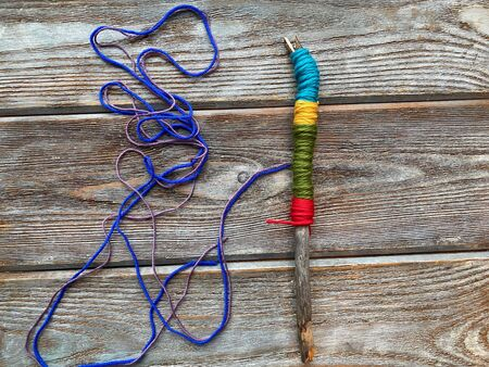 Step by step, how to wrap a knitting stick, childrens master class