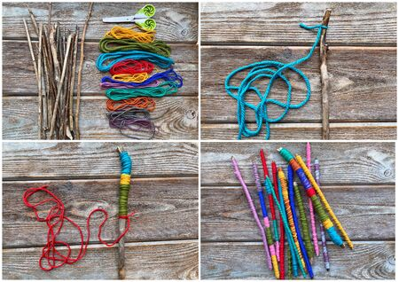 Collage step by step, learn how to make childrens craft sticks from yarn.