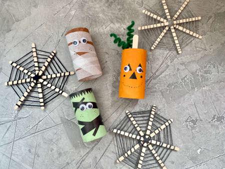 Children's creative, toilet paper Halloween characters, Stock Photo