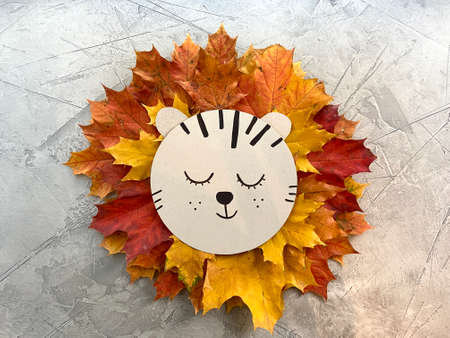 lion of autumn , maple leaves, childrens crafts