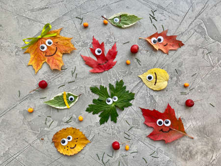 Autumn colorful leaves with eyes, fun childrens craft