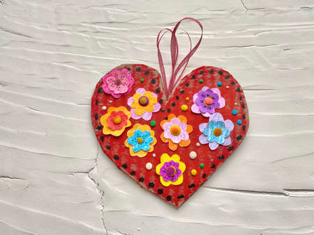 Art heart, valentine card, childrens craft from recycling cardboard.