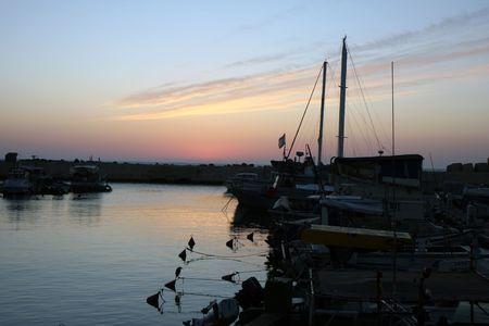 Old Jaffa port at sunset photo