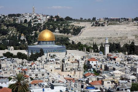 Temple mountain in Jerusalem - dome of the rock  Stock Photo