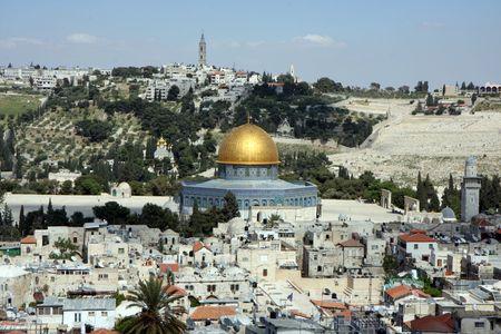 jerusalem: Olive mountain - the old city of Jerusalem
