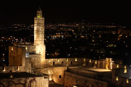 Night view of the david tower in the old city of Jerusalem