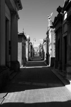 View at the Buenos Aires La Recoleta cemetery inside a mausoleum Stock Photo