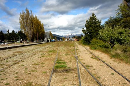 bariloche: View at the bus station of Bariloche in Argentina to the train rails
