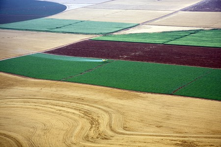 Aerial landscape with rural fields at hot summer photo