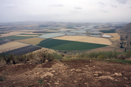 Aerial landscape with rural fields in Galil in Israel Stock Photo