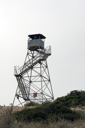 birdwatching: Birdwatching tower and military tower Stock Photo