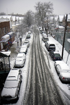 New York street after a snow storm