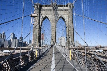 Weergave van de Brooklyn Brug in New York Stockfoto