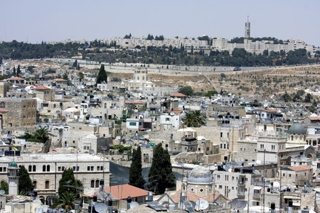 View from one of the roofs in the old city of Jerusalem to the olive mountain Stock Photo