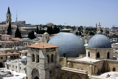 View from one of the roofs in the old city of Jerusalem Stock Photo
