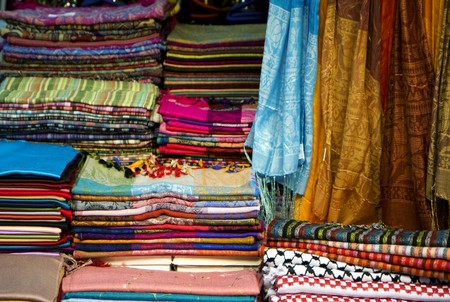 Scarves in a pile at the market of the old city of Jerusalem