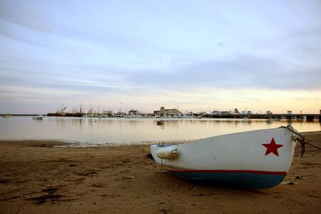 View at Provincetown bay to the boats and the ocean Stock Photo