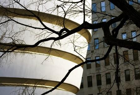 Guggenheim museum architecture closeup in New York, USA