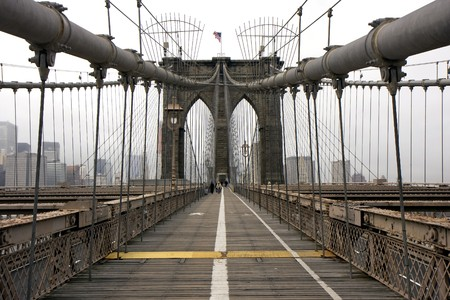 View of the Brooklyn bridge in New York Stock Photo