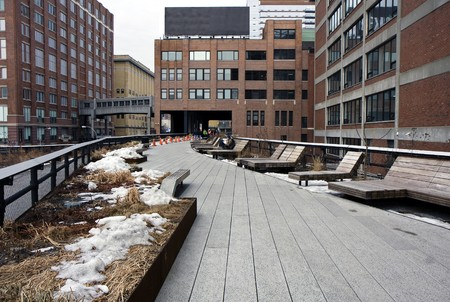High Line park in Manhattan, New York with the parking downstair