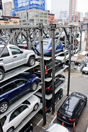 New York City multi story automated parking lots filled with cars next to the High Line photo