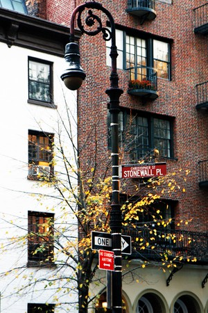 Sign at the Stonewall plaza in the Greenwich Village, New York Stock Photo