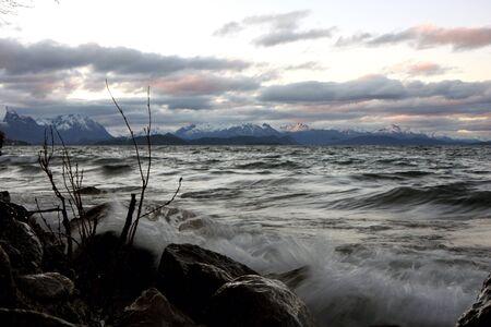 bariloche: View to Nahuel Huapi lake at  sunset in Bariloche, Argentina Stock Photo