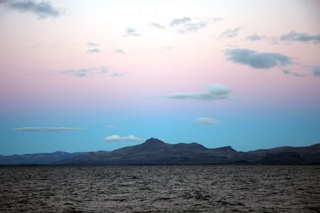 nahuel huapi: View to Nahuel Huapi lake at  sunset in Bariloche, Argentina Stock Photo