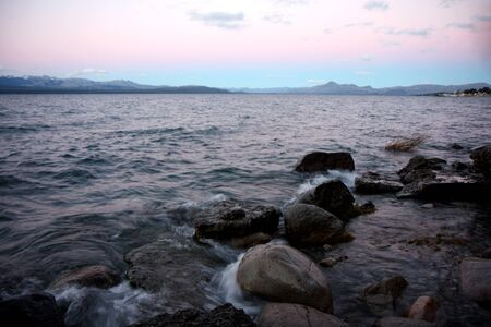 lake argentina: View to Nahuel Huapi lake at  sunset in Bariloche, Argentina Stock Photo