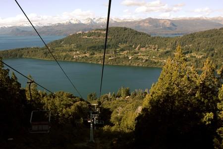 bariloche: View from the Cerro Campanario lift to the viewpoint next to Bariloche in Argentina Stock Photo