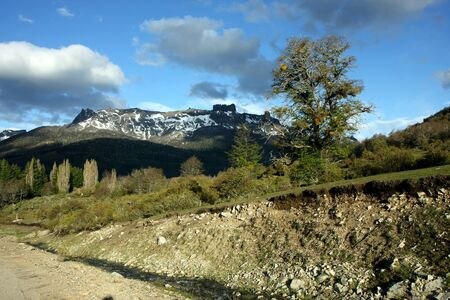 nahuel: The seven lakes road view next to Bariloche at Nahuel Huapi national park in Argentina  Stock Photo