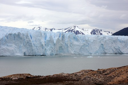 View to the connection of the glacier with nearby mountain