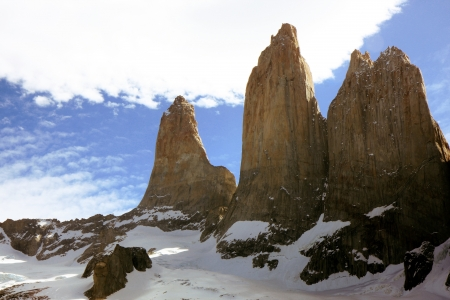 View to the mountains of Torres del Paine in Chile Stock Photo