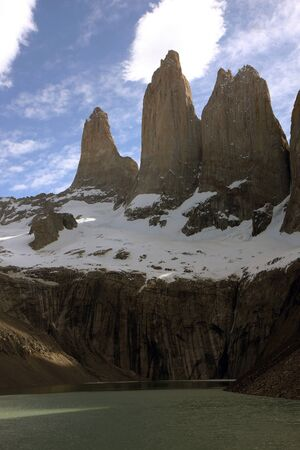 View to the mountains of Torres del Paine in Chile photo