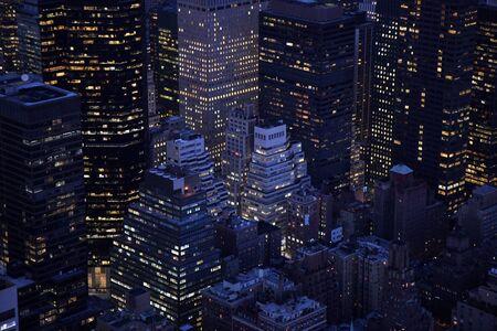 Aerial closeup view of  buildings in  Manhattan  at sunset