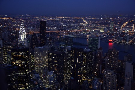 Aerial view of  Manhattan in New York city at sunset Stock Photo