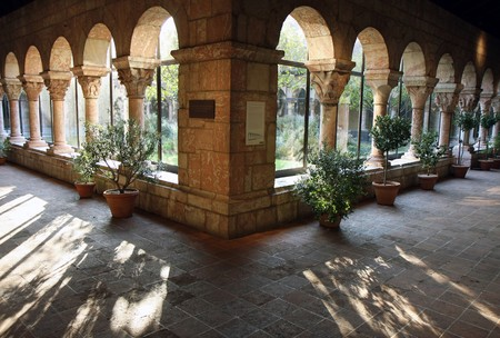 Cloisters werf weergave in New York museum Stockfoto