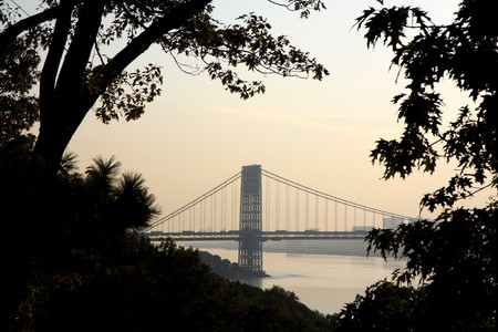 View from Washington bridge connecting New York and New Jersey at sunset Stock Photo - 7652460