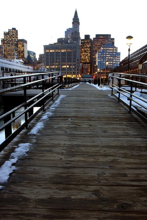 Boston's  financial  center and the harbor at sunset in winter Stock Photo - 7728998