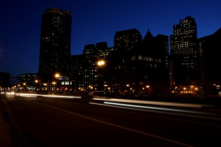 Boston's  Financial district at night in winter Stock Photo - 7728795